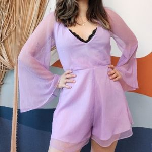 Urban Outfitters Sparkly Plunge Bell Sleeve Romper
